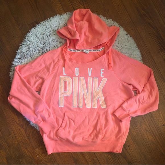 PINK Victoria's Secret Tops - PINK Coral Love Pink Hoodie Victoria's Secret